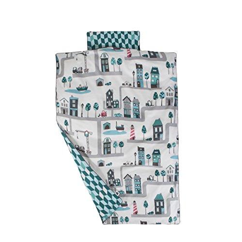 Sebra Bettwäsche-Set für Babybett, 100 % Bio-Baumwolle, Größe 70 x 100 cm, Kissenbezug 40 x 45 cm, Blau