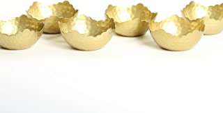 Koyal Wholesale Hammered Glam Tea Light Holders, 6-Pack, Decorative Centerpiece Bowl, Floating Candle Holders (Gold)