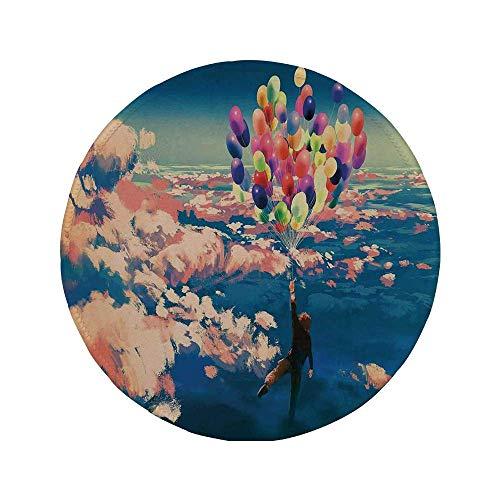 Rutschfreies Gummi-rundes Mauspad Abenteuerdekor Mann der mit bunten Luftballons im Himmel auf Wolken fliegt Wunderlackdruck Korallenblau 7.9