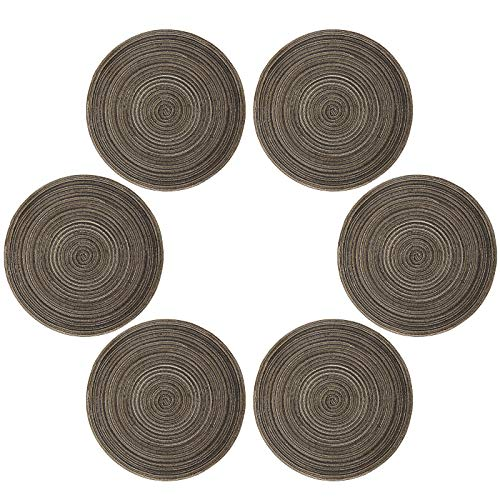 Topotdor 14 Inch Round Placemats Heat-Resistant Stain Resistant Anti-Skid Washable Polyproplene Table Mats Placemats (Set of 6, Brown)