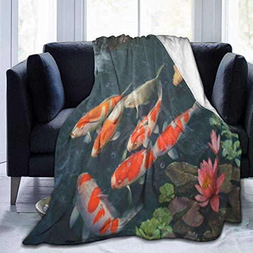 Manta de forro polar ultra suave, imagen de peces Koi, decoración del hogar, manta cálida para sofá cama, 152 x 50 pulgadas