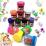OCEANO 12×50ml Botes Pintura de Dedos para niños, Pintura de Dedos,Lavable Pinturas para niños no tóxicas, de Color Natural y ecológico