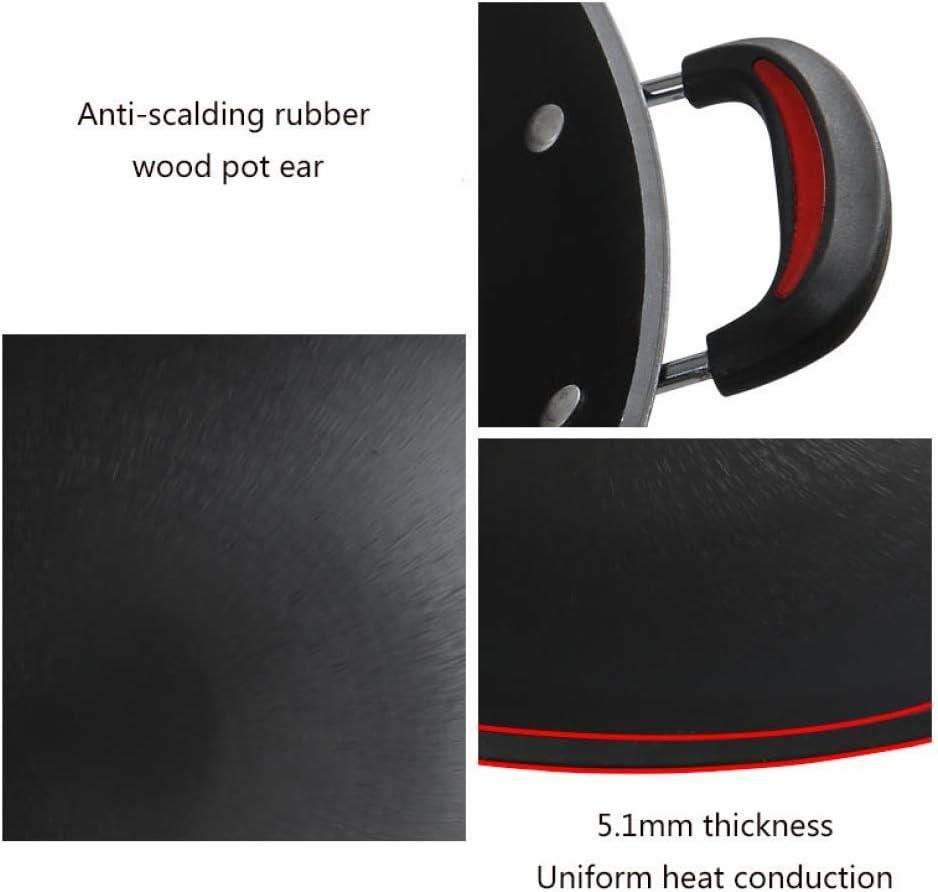 LIUSHI Wok en Fonte Wok binaural Plat et concave Wok Domestique antiadhésif épaissi Non couché à Fond Rond Noir 36 cm 45cm