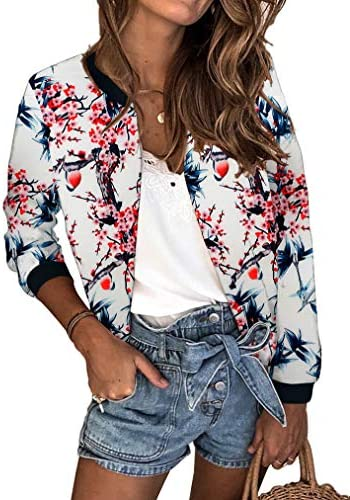 Aixy Womens Long Sleeve Floral Print Blazer Jackets Juniors Short Bomber Coat product image