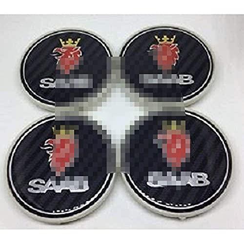 Tapas de cubo de centro de rueda de 4 piezas para borde cromado SAAB de la etiqueta del logotipo de la etiqueta, aleación
