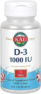 KAL Vitamin D-3 1000 IU Chewable | Peppermint Flavor | Healthy Immune Function & Bone Support | 200 Chews, 200 Serv