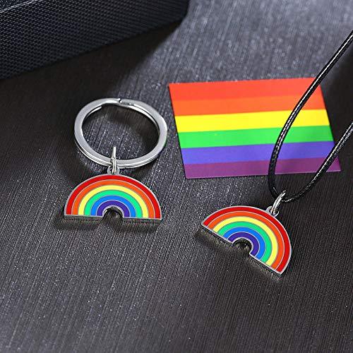 Collares Colgante Joyas Colgantes De Arcoíris De Colores para Hombres, Mujeres, Acero Inoxidable con Cadena De Cuerda, Collar Leisbiano Gay, Juego De Joyas