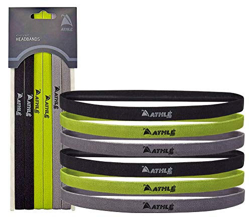 Athlé Skinny Sports Headbands 6 Pack - Men's and Women's Elastic Hair Bands with Non Slip Silicone Grip - Lightweight and Comfortable Sweatbands Keep You Cool and Dry – Black, Green, Grey
