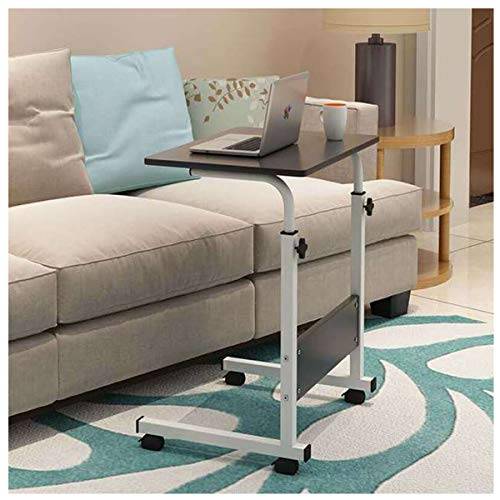 Side Table Laptop Desk, Height Adjustable Computer Desk, Can be Lifted Standing Desk with Wheels for living room, bedroom, office (Color : Black drawing, Size : 80 * 40CM)