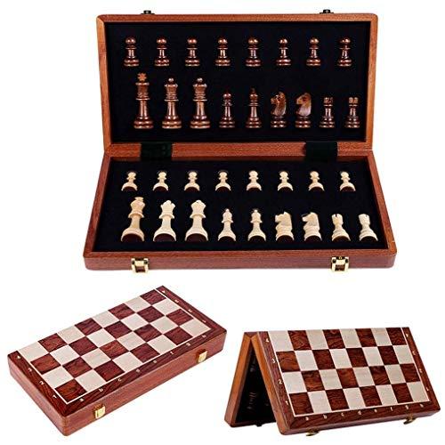 MNBV Juego de ajedrez juego de tablero de ajedrez, juego de piezas de ajedrez con tablero de almacenamiento plegable y portátil, tablero de ajedrez