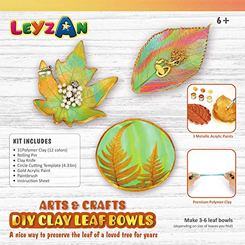 Clay Leaf Bowls Craft Kits Make Your Own Jewelry Dish Arts and Crafts for Kids Ages 8-12 Creative DIY Gifts for Girls Boys Baking Polymer Clay Set Ages 6 Years and Up