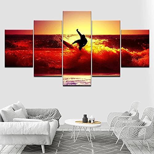 Composición De 5 Cuadros De Madera para Pared Surfeando sobre Olas Rojas Al Atardecer Impresión Artística Imagen Gráfica Decoracion De Pared Abstracto 150 * 80Cm con Marco