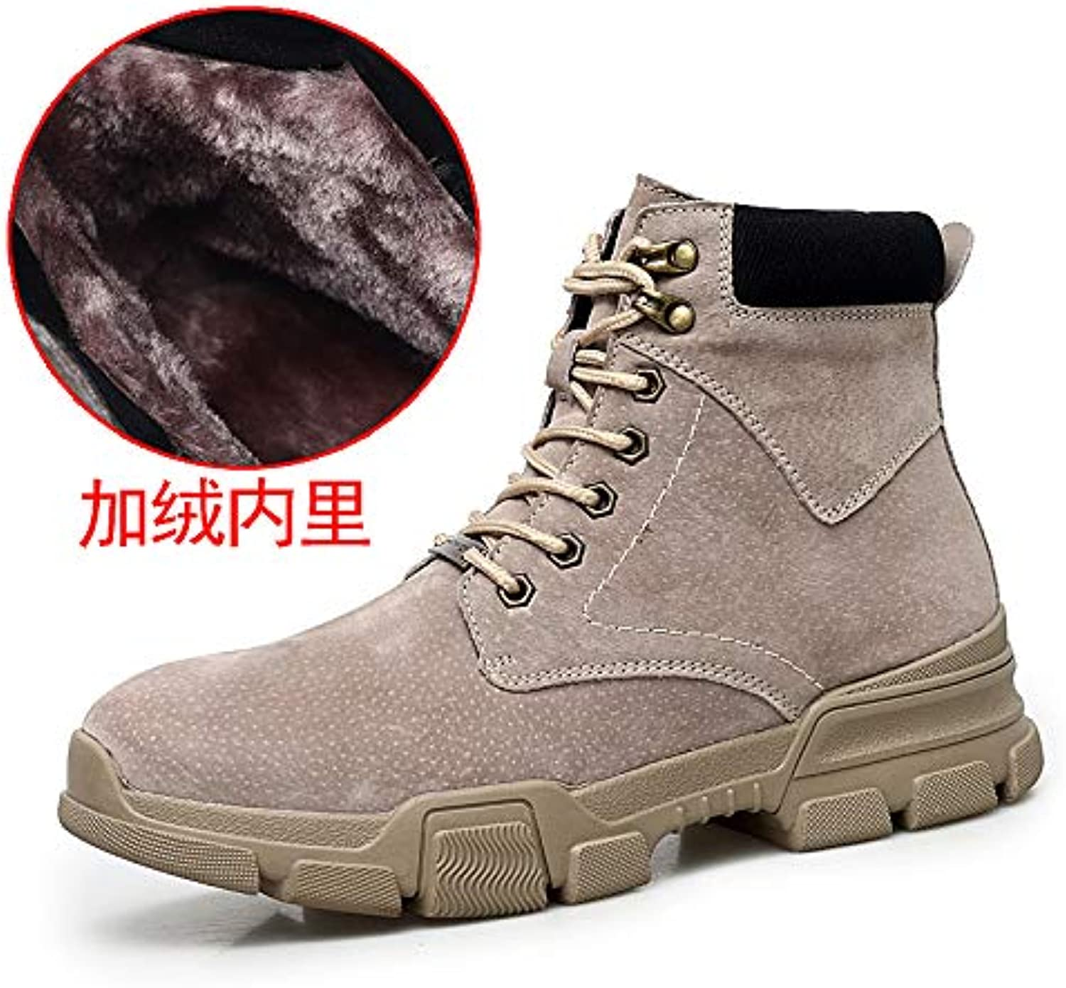 ZyuQ Ankle boots Martin Boots Men'S shoes Winter Thick Warm And Cotton Pu High Help Tooling Snow Boots