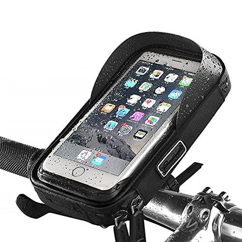 Shxchen Bolsa Bicicleta Impermeable, Soporte Móvil Bici Bolsa Bicicleta Manillar con Ventana de Pantalla Táctil Accesorios Bicicletas Montaña para Teléfono Smartphones de hasta 6.5 Pulgadas