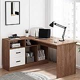 Escritorio esquinero de ordenador en forma de L con estantes de almacenamiento, mesa de trabajo industrial moderna para oficina en casa, fácil de montar, 120 x 50 x 75 cm, B-A
