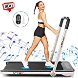 Folding Treadmill,2 in1 Small Treadmills for Home,2.25Hp Electric Under Desk Treadmill Weight Machine with Bluetooth Speakers&Remote Control,Built-in 5 Modes&12 Programs,Installation-Free (Golden)