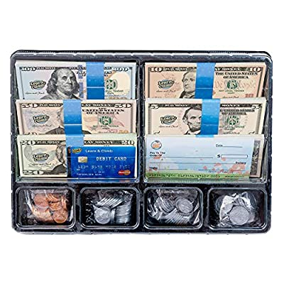 Learn & Climb Play Money Set for Kids – Realistic Dollar Bills, Coins, Credit & Debit Cards & Checkbook. Add-on for Pretend Play Cash Register from Learn & Climb