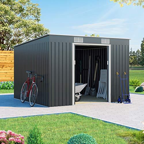 BillyOh Cargo Dark Grey Hot-Dipped Galvanized Pent Metal Garden Storage Shed (9 x 8)