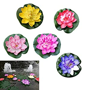 5Pcs Artificial Floating Lotus Foam Flower with Water Lily Pad, Lifelike Plants Greenery Ornament for Home Garden Pond Decoration