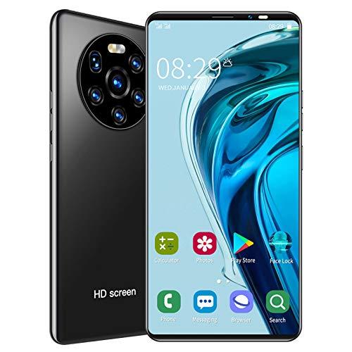 Desbloqueado Teléfono Inteligente, 5.45in 1+8GB 128GB Almacenamiento Expandible Pantalla HD Teléfono Tarjeta Dual Doble Modo espera Teléfono Celular Android Reconocimiento Facial Teléfono Móvil(Negro)