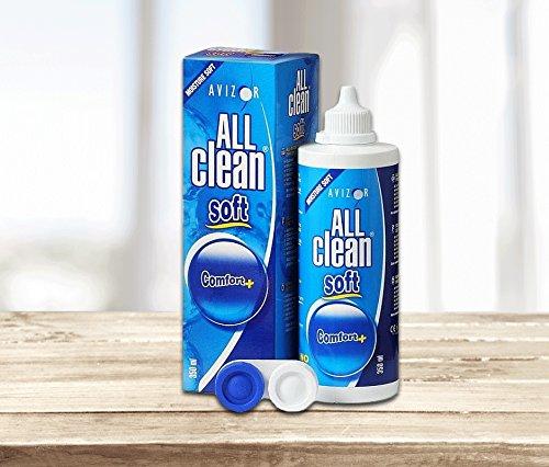 Líquido de lentillas AVIZOR All Clean Soft. Solución única para limpieza y desinfección de todo tipo de lentes de contacto blandas. 1 x 350 ml