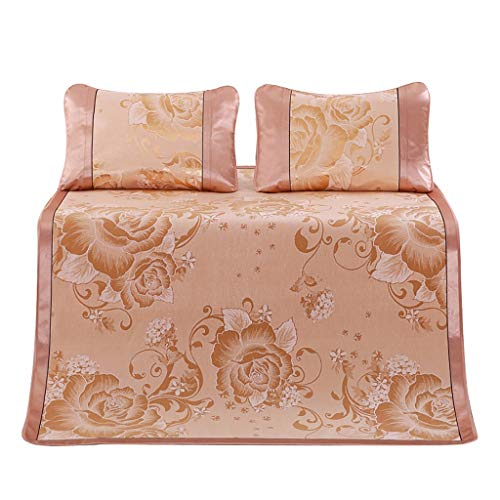 HJuyYuah Breathable Ice Silk Sleeping Crib Mattress Mat Summer Cool Pad with Pillow Gold