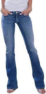 Yying Mujer Vaqueros Pantalones Acampanados Cintura Alta Slim Fit Jeans Pantalones Bootcut Elasticos Skinny Pantalones Mez...