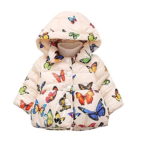 YWLINK Ropa De Invierno NiñA De La Mariposa Bebé De ImpresióN De Dibujos Animados Moda NiñA Abrigo De AlgodóN Engrosamiento Chaqueta Chaqueta De Manga Larga Con Botones Ropa Abrigada De AlgodóN