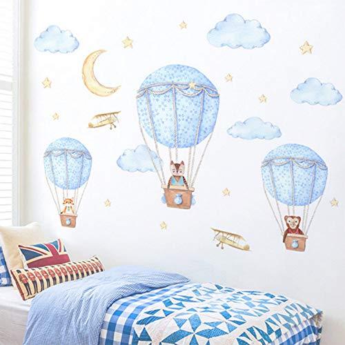 EUFJSDHF Muursticker Hete Luchtballon Leuke Dieren Muurstickers Verwijderbare Kinderkwekerij Huisdecoratie Woonkamer Slaapkamer Slaapbank Decoratie Muur Art 140X80CM