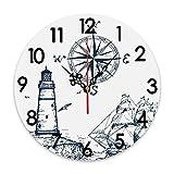 GEEVOSUN Reloj de Pared Redondo Reloj silencioso Que no Hace tictac Alfombra de baño de Espuma viscoelástica, Faro náutico de Barco de Vela y brújula con Estampado Azul Marino, decoración del hogar p