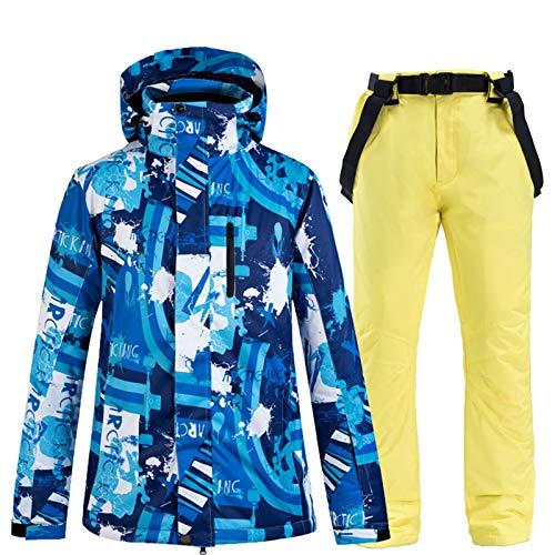 YSML Winter im Freien Wasserdichten Herren-Jacke und Hose Winddicht Warm Bergsteigen Snowboarding Skifahren Erwachsener Zwei Stücke Snowsuit Halt,Gelb,XXL