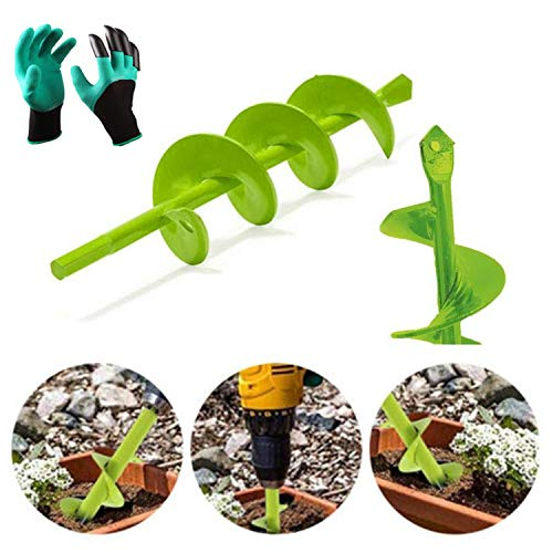 hengguang Garden Auger Bulb Auger Planter Drill Bit Gardening Seedlings Flower Bulbs Planting Tools for 3/8Inch Hex Drive Drill To Digging Holes Deep Cultivating,with Garden Gloves 4 * 22cm