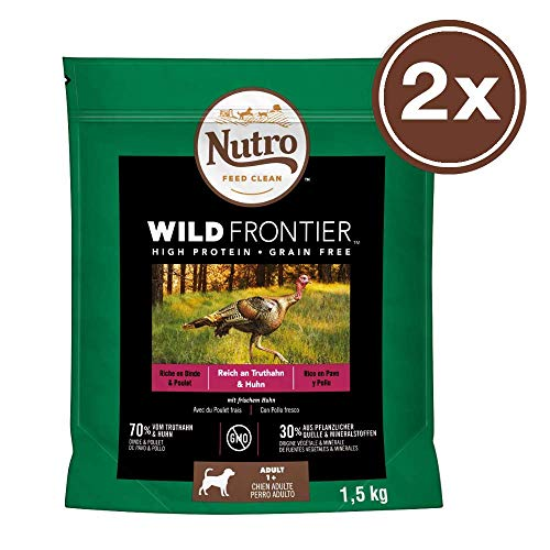 NUTRO Hundefutter Trockenfutter Wild Frontier Adult 1+ Reich an Truthahn & Huhn, 2 Beutel (2 x 1.5kg)