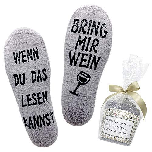 Belloxis Lustige Socken Damen Wein Geschenk Wenn Du Das Lesen Kannst Socken Flauschige Socken