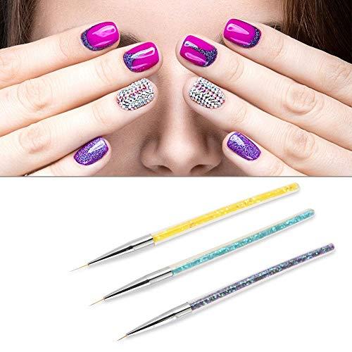 3 stuks nagellak pen, professioneel ontwerp nail art voering tekening pailletten manicure lijntekening pen drie kleuren handvat manicure voor de patronen van nail art.