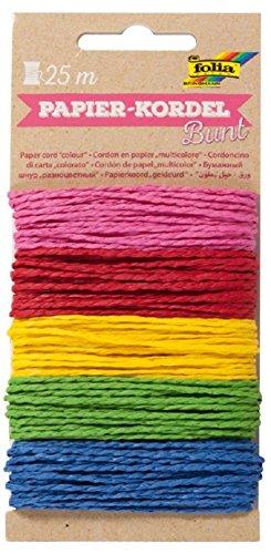 folia 12221 - Papierkordel Bunt, 5 farbig sortiert, je 5 m - Schnüre aus Papier zum verzieren von Bastelarbeiten, Handarbeiten und kleinen Geschenken