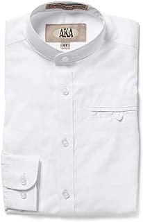 Boys Dress Shirt White and Navy Long and Short Sleeve - Mandarin Collar