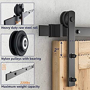 SMARTSTANDARD 6.6 FT Sliding Barn Door Hardware (Black) (I Shape Hangers)