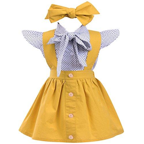 Annvivi dziecięca dziewczynka 3 szt. stroje w groszki falbanki rękaw kokardka bluzka podwiązka szelki spódnica kombinezony z opaską
