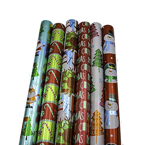"Bundle of 6 Rolls of 30"" Premium Foil Merry Christmas Holiday Children's Gift-wrap Wrapping Paper, Snow Flakes, Candy Canes, Trees, Santa Claus"