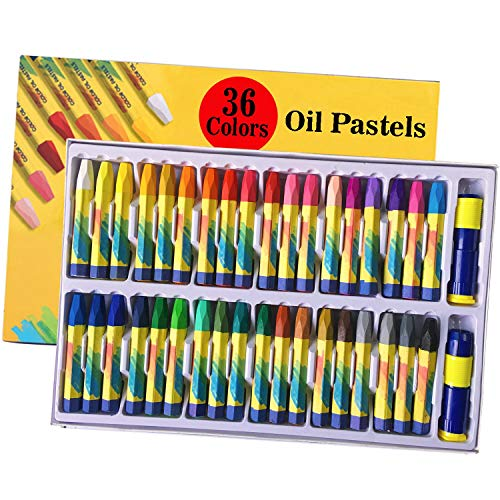 Lasten 36 Colors Oil Pastels, Oil Painting Sticks, Crayon Art Oil Pastels Set Drawing, Children Drawing Set,Crayons Paint Kits with Pastel Holders and Sharpeners for Kids & Adults, All Artists