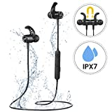 Bluetooth 5.0 Headphones, Mpow S10 Wireless Sports Headphones IPX7 Waterproof, 9H Playtime, Magnetic Design, HD Stereo Sound, In Ear Wireless Earphones with Noise-Cancelling Mic for Running, Gym,Slim