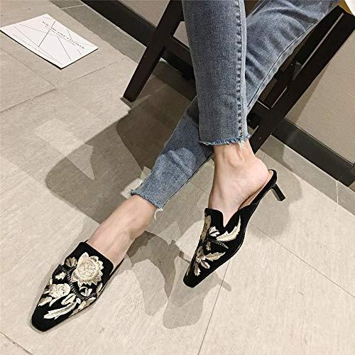COQUI Sandalia Mujer,El Gato Cuadrado pequeño con Las Zapatillas Finas. Bolsa de Desgaste Femenina de la Caldera y Zapatillas.-Negro_39