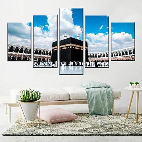 KWzEQ Religiöse Pilgerfahrt Runde muslimische islamische Moschee Schlafzimmer Dekoration Grab modulares Bild,Rahmenlose Malerei,40x60cmx2, 40x80cmx2, 40x100cmx1