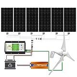 ECO-WORTHY 1300 Watts 24V Kit de generador de turbina eólica solar: 1pc Turbina eólica de 400 vatios + 6pcs 150W Mono Panel solar + 1pc Controlador híbrido de viento solar + 1pc 3000W 24V Inversor