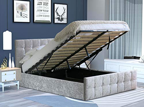 Home Treats Silvanna Silver Velvet Ottoman Storage Bed Lift Up Frame With Mattress Set (Single, No Mattress)
