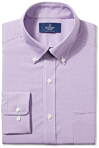 """BUTTONED DOWN Men's Classic Fit Button-Collar Non-Iron Dress Shirt, Purple Gingham, 19"""" Neck 35"""" Sleeve (Big and Tall)"""