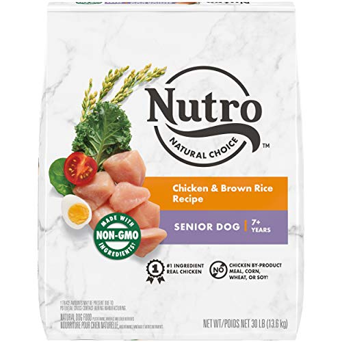 NUTRO NATURAL CHOICE Senior Dry Dog Food, Chicken & Brown Rice Recipe Dog Kibble, 30 lb. Bag
