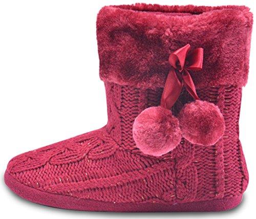 AIREE FAIREE Zapatillas de Casa para Mujer Pantuflas Mujer Invierno Casa con Bordes del Tejido de Punto y Pompons (EU 38-39, Bourgogne)