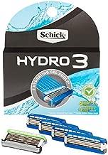 Schick Hydro 3 Razor Blade Refills for Men - 4 Count +1 Hydro 5 Refill (Pack of 2)